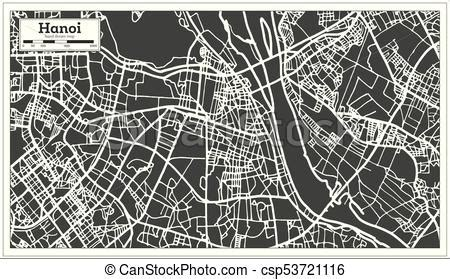 hanoi vietnam city map  retro style outline map vector