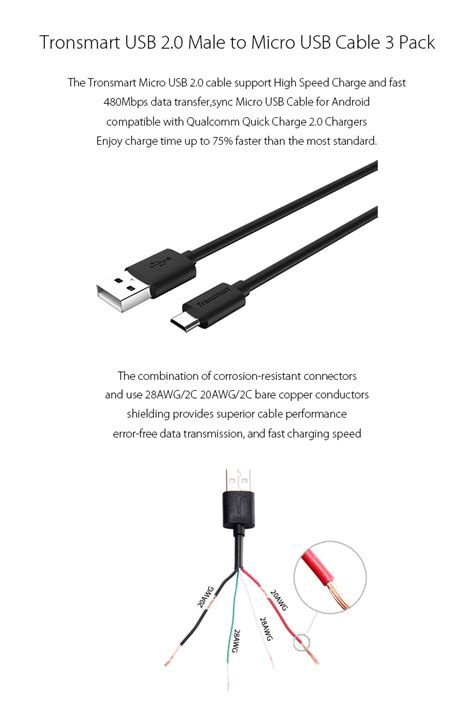 tronsmart usb  male  micro usb synccharging cables