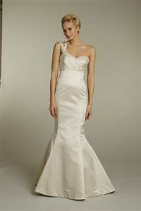 champagne satin one shoulder alvina valenta mermaid With one shoulder mermaid wedding dress