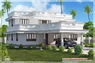 Roof Plans For House Ideas by Flat Roof Home Design With 4 Bedroom Kerala Home Design