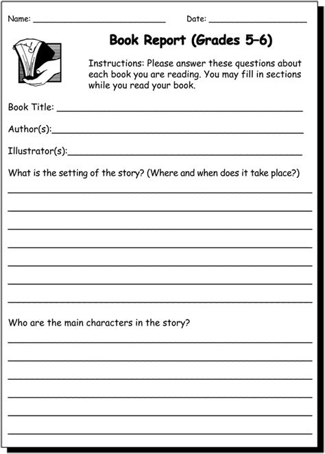 book report 5 6 writing practice worksheet for 5th and 6th grade jumpstart free