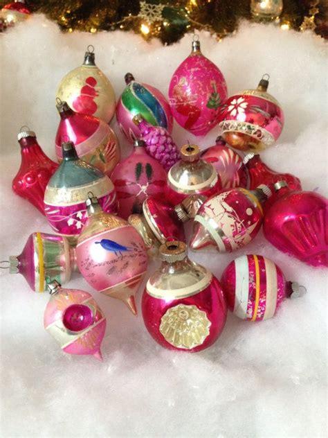 vintage christmas lot  large pink  pink shabby