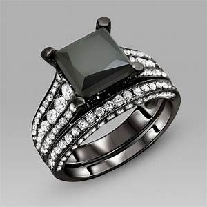 black engagement ring for women black cubic zirconia With black wedding rings womens