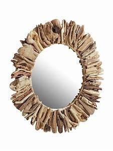 Miroir Bois Flotté : grand miroir mural rond avec cadre en bois flott helline ~ Teatrodelosmanantiales.com Idées de Décoration