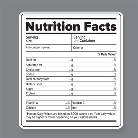 nutrition label template printable label templates