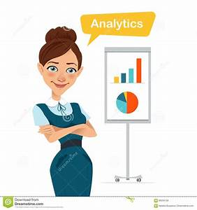 Woman Stands Near Flipchart With Chart  Diagram  Stock Vector