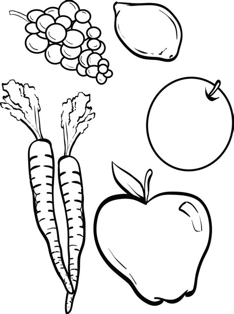 printable fruits  vegetables coloring page