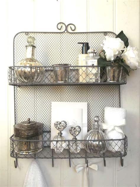 shabby chic vintage metal wall shelf unit rack hooks