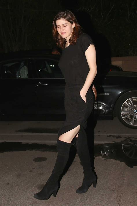 alexandra daddario   black dress arrives  matsuhisa