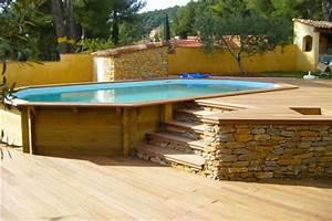 piscines bois rectangulaires et octogonales hors sol With construction piscine hors sol en beton 2 terrasse bois autour d une piscine hors sol