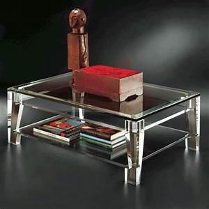 simple acrylic cocktail table with a shelf underneath With acrylic coffee table with shelf