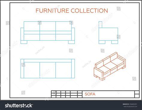 sofá restaurante vetor blueprint sofa vector front view top stock vector