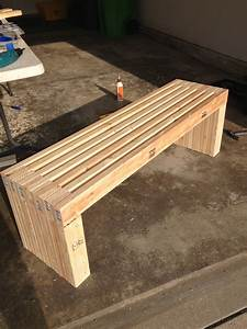 Ana White MODERN SLAT TOP OUTDOOR WOOD BENCH - DIY Projects