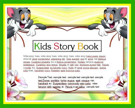 kids story writing book template word excel templates