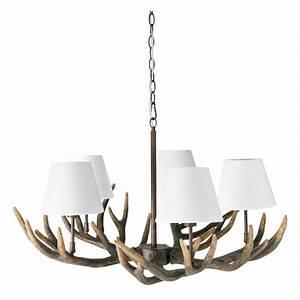 Maison Du Monde Lustre : lustre 5 branches en r sine et coton blanc d 75 cm ramure ~ Melissatoandfro.com Idées de Décoration