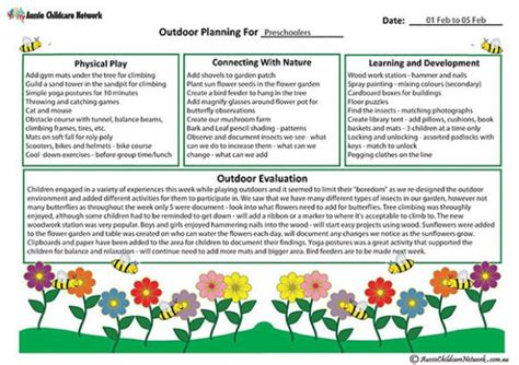 outdoor curriculum planning template aussie childcare