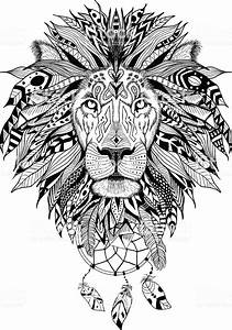 Detailed Lion In Aztec Style Stock Vector Art More
