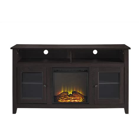 wood highboy fireplace tv stand espresso