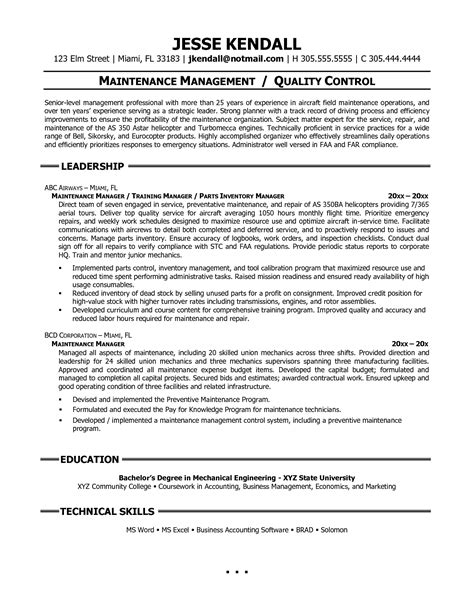 Facilities Maintenance Resume Objective by Bongdaao Just Another Resume Exles
