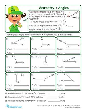Basic Geometry Anatomy Of An Angle  Worksheet Educationcom