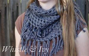 Chunky Fringe Infinity Scarf Crochet Pattern - Whistle and Ivy