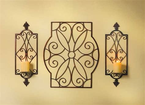 3 Bronze Iron Scroll Candle Holder Wall Art Sconce Pair
