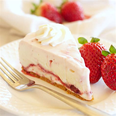 easy no bake strawberry swirl cheesecake the busy baker