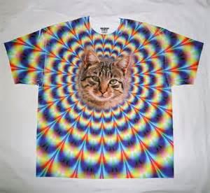 rainbow cat shirt nwt l xl tie dye cat rainbow optical illusion womens mens