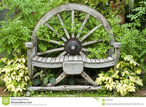 wooden wagon wheel chair stock photography image 31884462