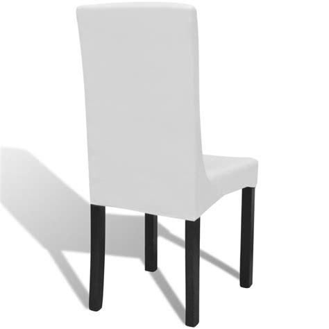housses de chaises extensibles acheter 6 housses de chaise dos droit extensibles blanches