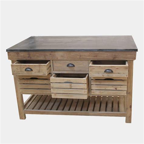 meubles de cuisine en bois ilot central bois massif avec plateau en bleue