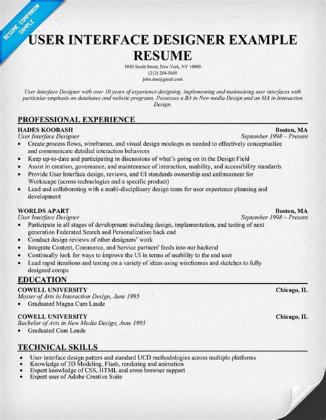 user interface designer resume exle uid