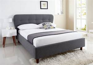 low profile king bed frame with grey upholstered headboard With bed frame with cushioned headboard