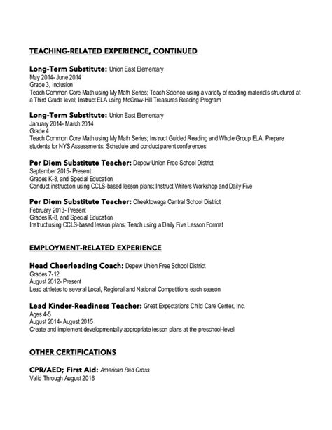 Resume For Elementary Special Education by Elementary Education Special Education Resume