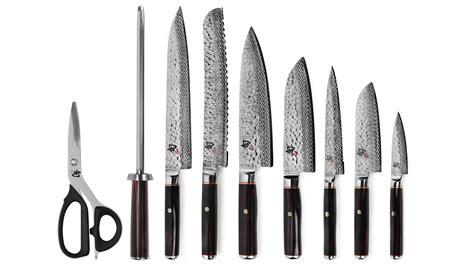 shun hiro knife block set  piece cutlery