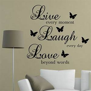 live laugh love words wall art sticker quote living room With word decals for walls ideas
