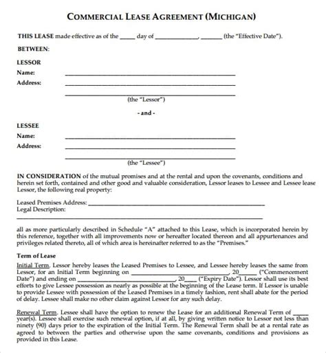 Commercial Building Lease Agreement Template by 6 Free Commercial Lease Agreement Templates Excel Pdf
