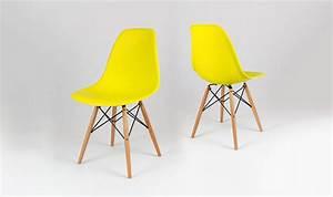 Chaise Scandinave Jaune : chaise inspiration eames design jaune pitement eiffel ~ Teatrodelosmanantiales.com Idées de Décoration