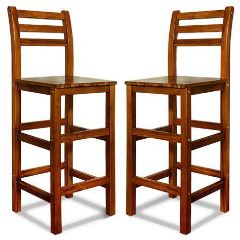 wooden bar stool set kitchen breakfast back rest 2x