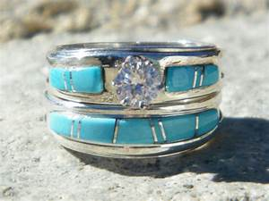 Native american indian navajo wedding rings band turquoise for American indian wedding rings