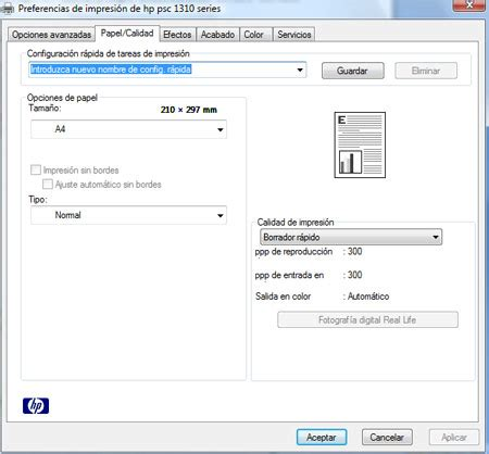 como configurar mi impresora  borrador rapido es