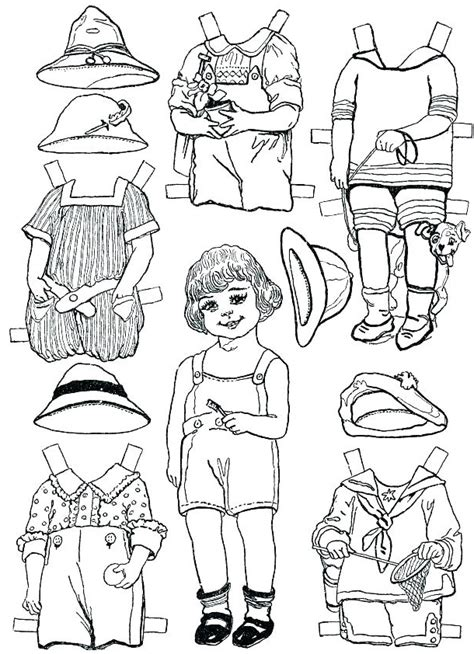 paper doll template  coloring pages  kids
