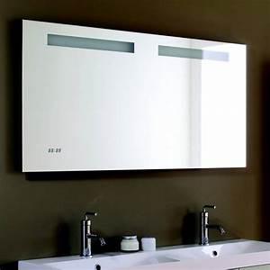 miroir lumineux salle de bain avec horloge integree With miroir lumineux salle de bain
