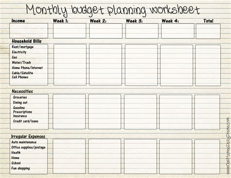blank printable budget worksheets