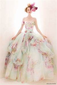 The gallery for gt colored floral wedding dress for Floral wedding dresses with color