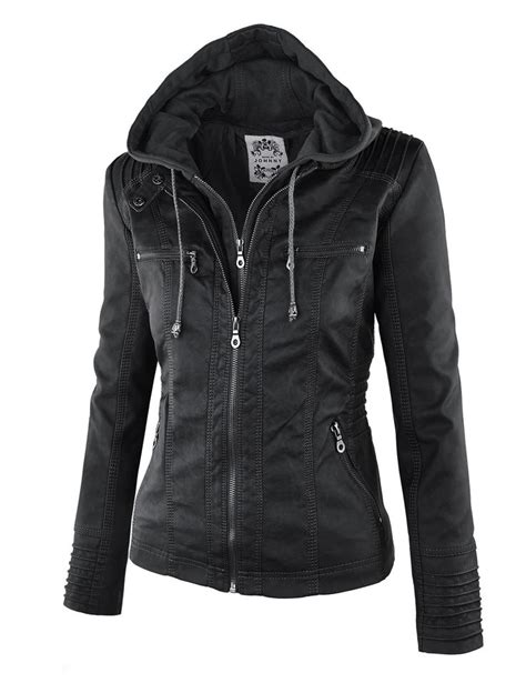 motorcycle jacket store ll womens 2 for one hooded faux leather jacket at amazon