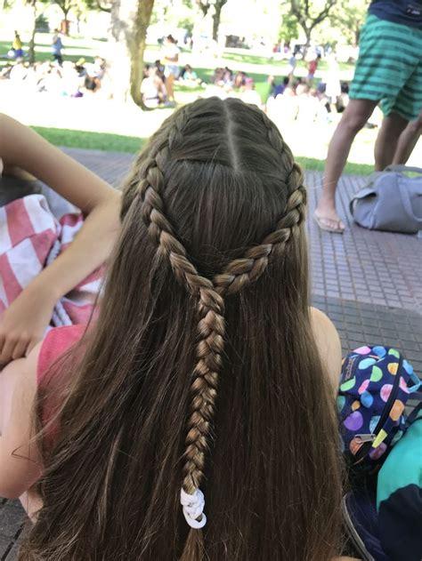 trenzas princesas niñas cocidas dos trenzas Peinados con