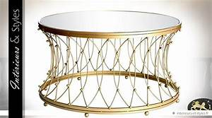 Table Basse Dorée : table basse ronde en m tal dor avec plateau miroir 90 cm int rieurs styles ~ Teatrodelosmanantiales.com Idées de Décoration