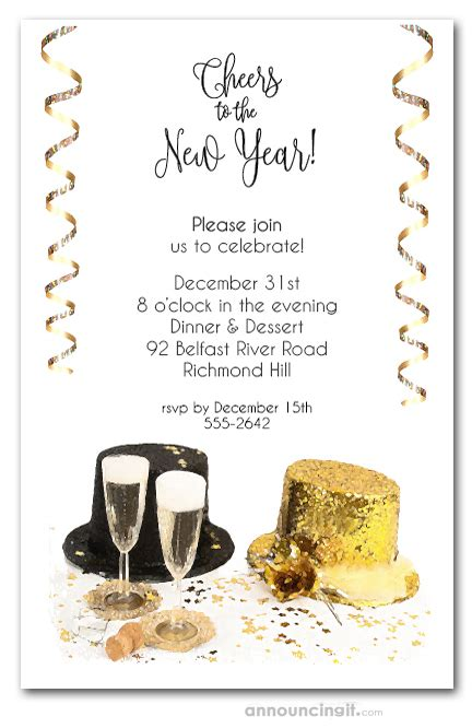 top hats  years eve invitations  years eve