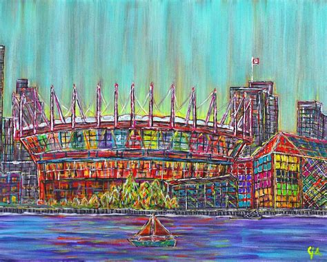 bc place vancouver alive in color painting by aiyadurai